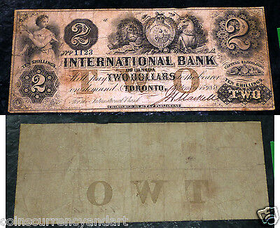 International Bank $1 - Chartered Banknote From  1858 .  Cat#  10-08-10