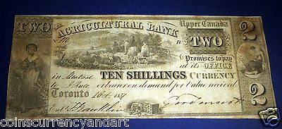 SCARCE 1837 Agricultural bank TWO DOLLARS / TEN SHILLINGS