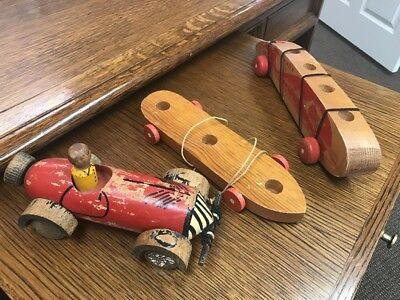 3 Vintage Toys 2 1933 ARCADE CHICAGO WORLDS FAIR Wooden Pull Toys One Race Car