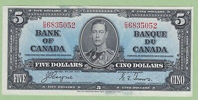 1937 Bank of Canada 5 Dollar Note - Coyne/Towers - C/S6835052 - UNC