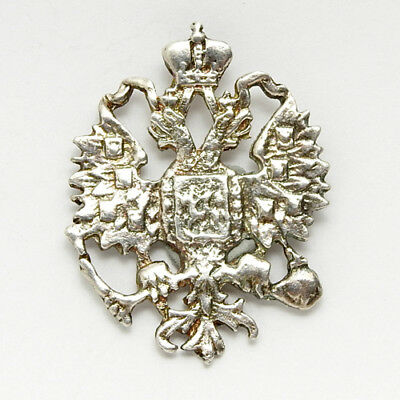 Silver Pendant of the Russian Imperial Double Headed Eagle Czar Tsar of Russia