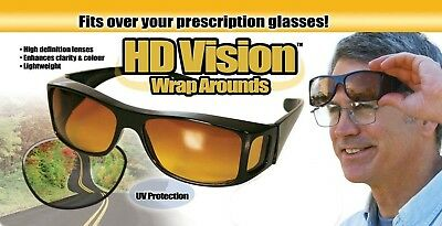 HD Vision Wraparounds Glare Reducing Driving Sunglasses, As Seen on TV - Black
