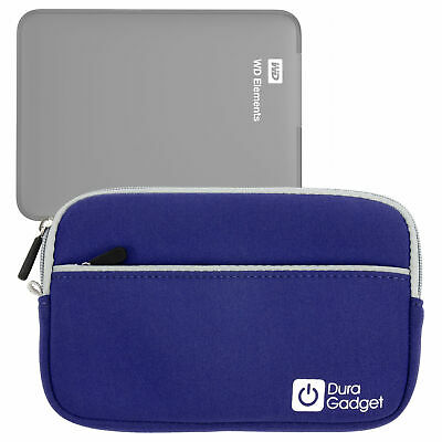Blue Water Resistant Zip Case For WD Elements 1TB & 2TB External Hard Drives
