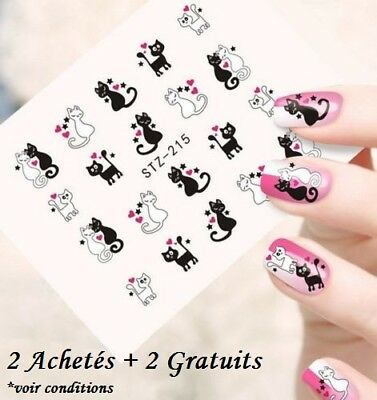 ❤️nouveau Stickers Chats Bijoux Ongles Water Decals Stickers Nail Art