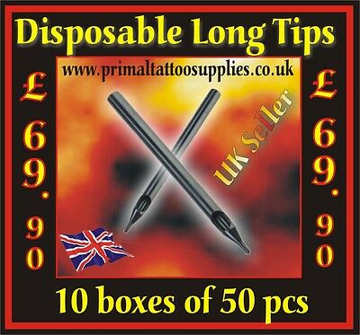 10 Boxes of Disposable Long Tips (500 Tips in total) - (Tattoo Supplies -Needles
