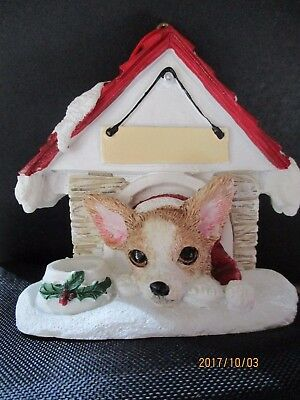 Chihuahua Fawn And White  ~ Doghouse  Ornament  ~   10