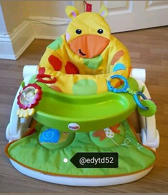 Fisher-Price Giraffe Sit Me Up Floor Seat feeding chair with tray and toys snug