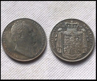 1836 King William IV One 1 Crown NOVELTY COIN Silver Plated