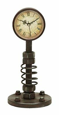 ANTIQUE Style Retro Vintage AGED METAL Industrial Steampunk DESK CLOCK Rustic