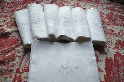 """6 antique French pure damask linen napkins, 27"""" x 30"""", embroidered HT monograms"""