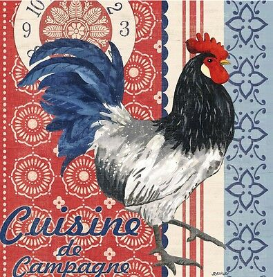 cYPRESS hOME Set of 20 Cocktail Beverage Napkins - Old Glory Paper Rooster