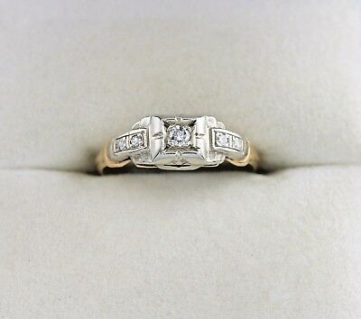 Art Deco 14K Diamond Engagement Ring Vintage Two Tone Gold Wedding Band .08 CTW