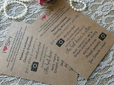 I Eye Spy Camera Wedding Table Cards Trvia Game Favour Disposable Activity Kids