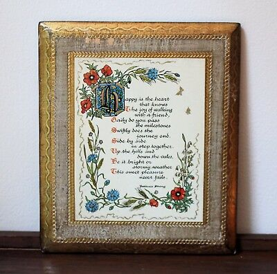vintage Florentine wooden wall plaque Patience Strong Poem