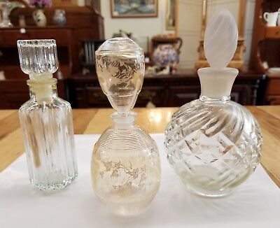 Lot of 3 Vintage Glass Perfume Bottles with Stoppers - Must See!