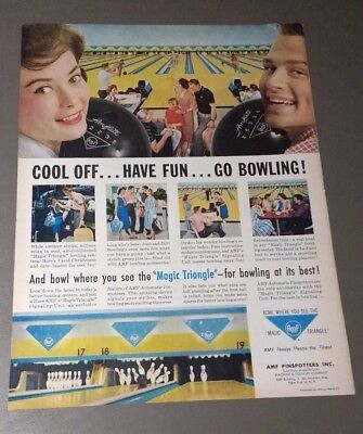 1959 Cool Off Have Fun Go Bowling AMF Pinspotters Magic Triangle Ad