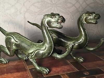 A Pair of Green Bronze Chinese Dragon Ornament