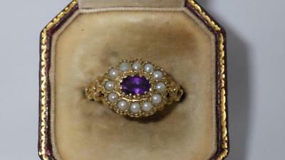 Stunning! Victorian 9k yellow gold amethyst gray seed pearl ring US 7.25/UK O1/2