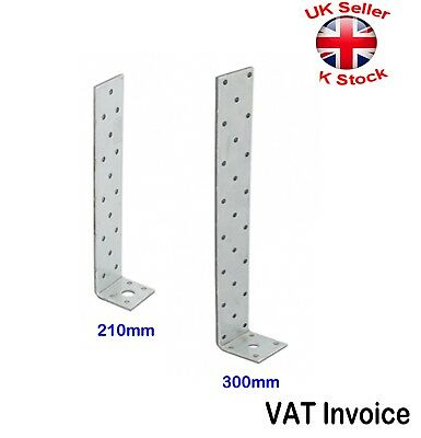 Galvanised Long 90 Degree Angle Brackets 210 or 300mm Width 40mm Thickness 4mm