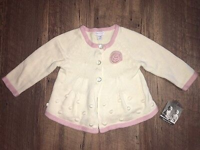 NWT Piper & Posie Girl's 6-9 Months Ivory & Pink Sweater Cardigan