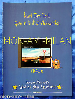 PEARL JAM YIELD ALBUM RELEASE 1998 Advertisement Advert Mini-Poster WOOLWORTHS