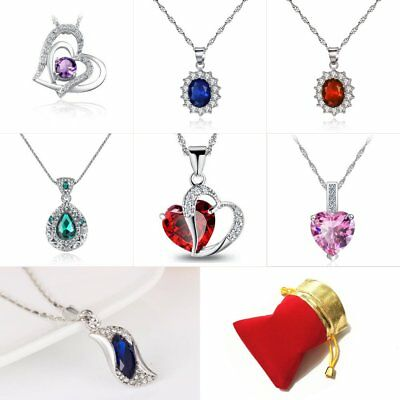925 Silver Pendant Necklace Crystal Rhinestone Heart Jewelry Women Ladies Gift