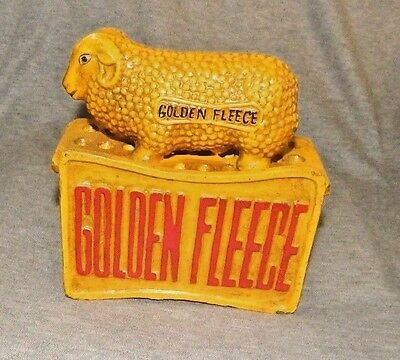 GOLDEN FLEECE Motor Oil Cast Iron Savings Bank w Ram Sheep Still Bank Promo Adv
