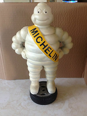Vintage Cast Iron Michelin Man Tire Mascot Figure Standing on Tire