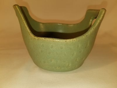"Vintage Matte Green Handled Bowl 3.1/2"" tall by 4 1/4"" diameter"