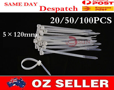 20/50/100PCS 5×120mm White Self lock Electric Wire Nylon Plastic Cable Zip Ties
