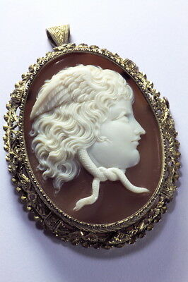 Antique Italian Ornate Silver Gilt Natural Shell Cameo Brooch Pendant Medusa