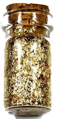 (10) .5 Ml Glass Jar Of 24K Gold Leaf Flakes Lot X 10 Free Shipping