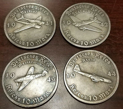 x 4 Adolf Hitler 1944 Third Reich Luftwaffe plane coin Exonumia WW2 WWII German