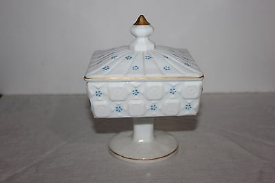 Westmorland Footed Candy Dish - Hand Painted - Milk Glass-Old Quilt Pattern
