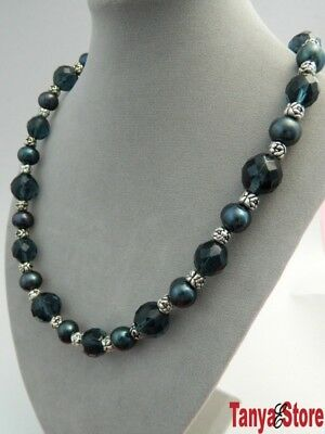 11Mm Blue Freshwater Pearl / Blue Sapphire  Crystal Beads/ Silver Rose Necklace
