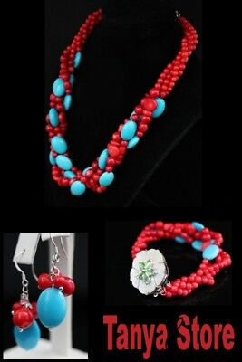 Red Coral And Blue Turquoise Necklace Bracelet Earrings Jewelry Set Cameo Clasp