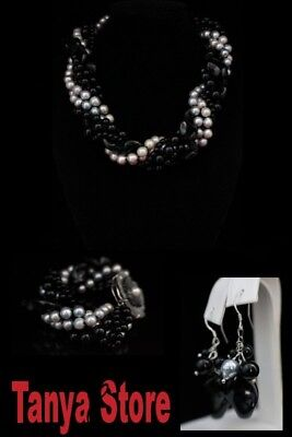 6Strd Grey Round Pearl And Black Onyx  Necklace Bracelet Earrings  Jewelry Set