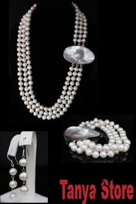 Natural 9Mm White Pearl Necklace Bracelet Earrings Jewelry Set Mabe Pearl Clasp
