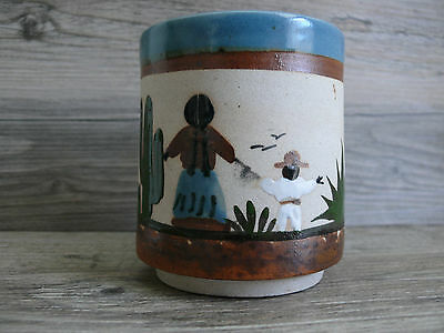Mexican Pottery Coffee Mug Hand Painted Mother & Child 12 ounces Signed Mexico