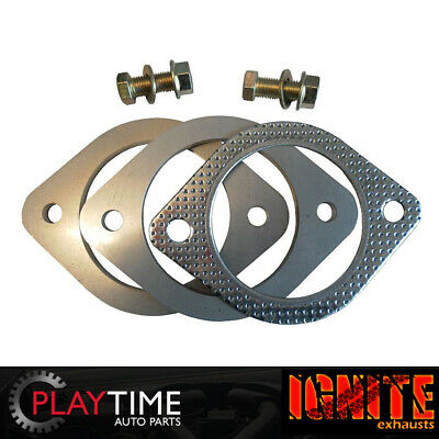 "Exhaust Flange Plate Set 2 Bolt Flange Plate 2.5"" 63mm Stainless Steel"