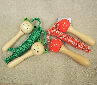 Gisela Graham Wooden Red Toadstool Handles Skipping Rope Children