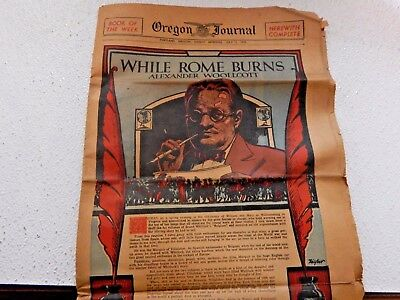 OREGON JOURNAL JULY 7 1935 PORTLAND, OR. NEWSPAPER ''WHILE ROME BURNS'' by ALEXA