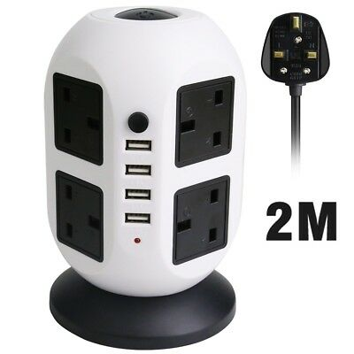 Surge Tower Extension Lead Socket with 8 Main UK Plugs 4 USB Ports 2M Long Cable