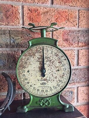 VINTAGE SALTER SCALES No.46 Made In England Cast Iron Heavy Kitchen Scales Retro