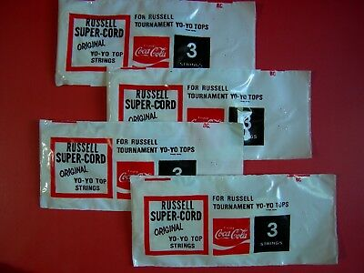 COCA COLA RUSSELL YOYO STRINGS 4 bags From 1970S  / NEW OLD STOCK