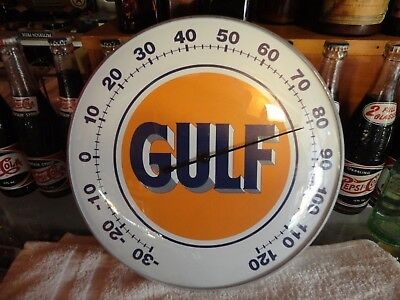"Gulf Oil Co Thermometer 12"" Round Licensed Glass Lens Aluminum Body"