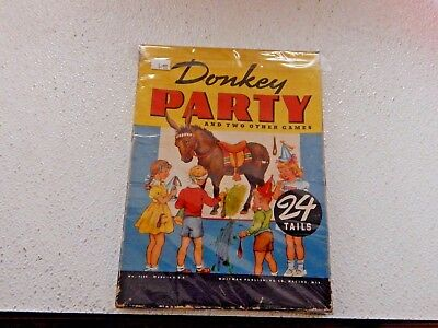 Donkey Party: Pin The Tail On The Donkey #4108 Whitman  1941 W/ Tails,rules