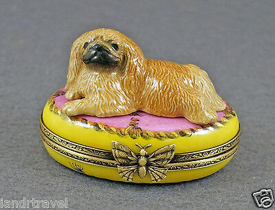 New French Limoges Trinket Box Pekingese Dog Puppy On Pink Rug With Tassels