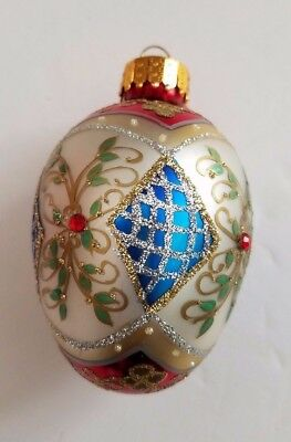 Hand Painted Christmas Egg Ornament Mouth Blown glass white