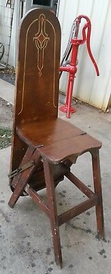 """1932 Wood 3 in 1 Folding """"Stepsaver"""" Chair,Step Stool & Ironing Board Amish find"""